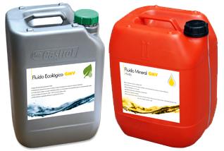 Fluido hidráulico: ecológico (derecha) / mineral (izquierda)